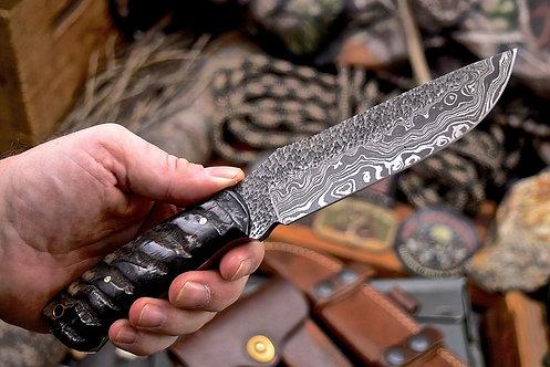 Handmade Hammered Damascus Custom Sheep Horn Large Skinning Hunting Knife
