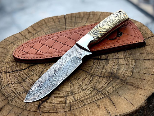 Engraved Handle Damascus Steel Skinning knife