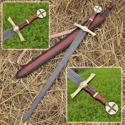 Holy Knight Descendant Damascus Steel Templar Knight Sword