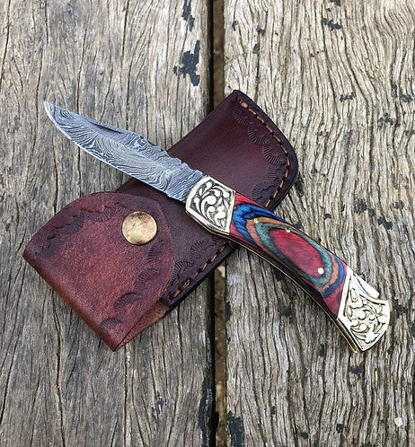 Damascus Steel Back Lock Folding/Pocket Knife