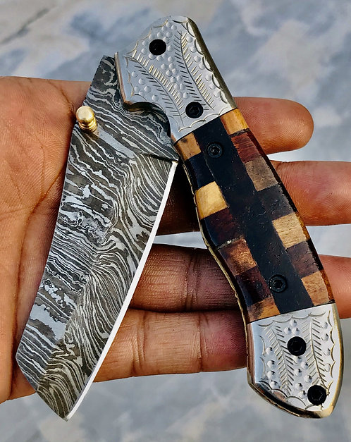 Huntwise Special Beautiful Custom Handmade Damascus Folding knife
