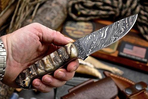 Handmade Hammered Damascus Custom Bird Fish Small Hunting Skinning Knife