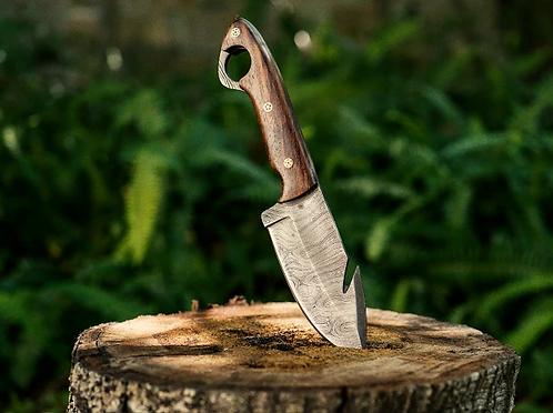 Damascus Steel Gut Hook Knife