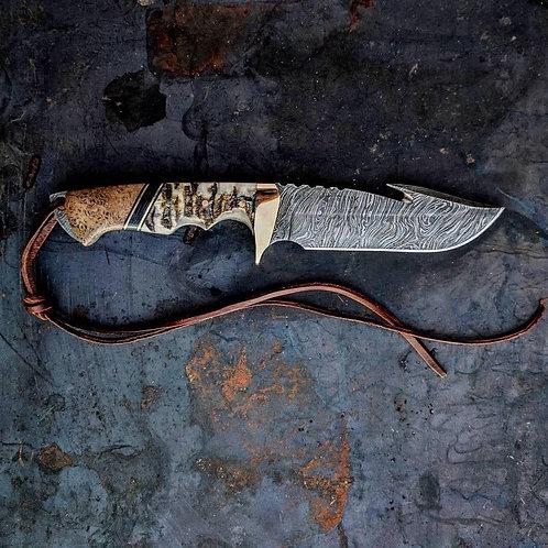 Handmade Damascus Steel Gut Hook knife