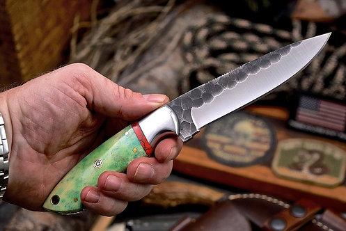 Handmade Hammered J2 Custom WOLVES Scrimshaw Camel Bone Turquoise Knife