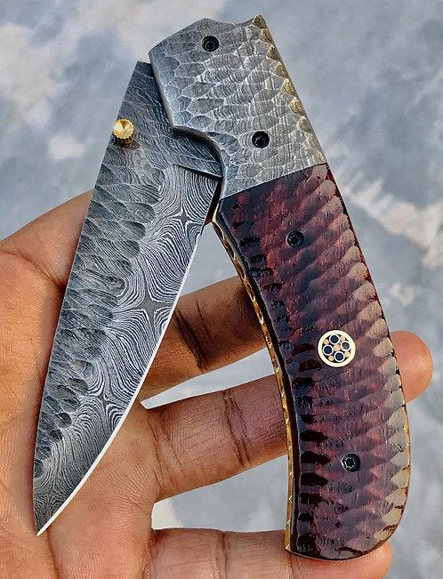 Huntwise Special Beautiful Custom Handmade Damascus Folding knife