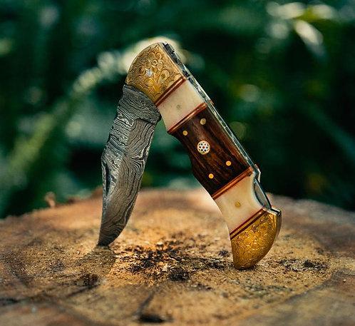 Damascus Steel Engraved bolster Folding/Pocket knife