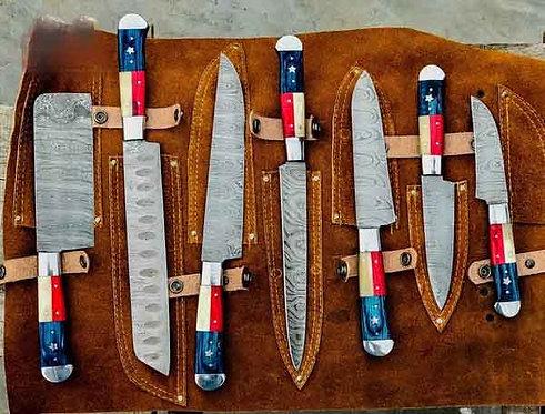 Custom Handmade Damascus Steel Texas Flag Handles Kitchen Knives set
