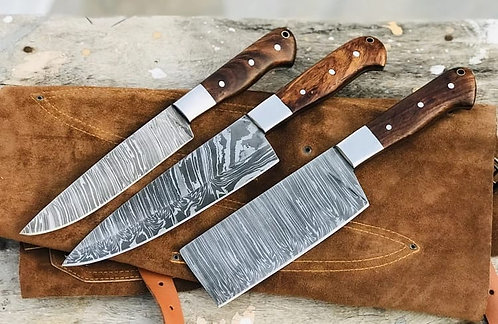 Damascus Steel 3 Pieces Kitchen Chef Knives