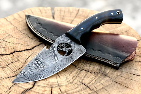 Damascus Steel Wire Cut Gut Hook Knife