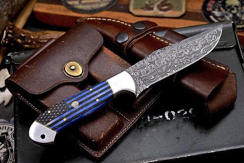 Handmade Raindrop Damascus Custom USA FLAG Scrimshaw Bone Hunting Camp Knife