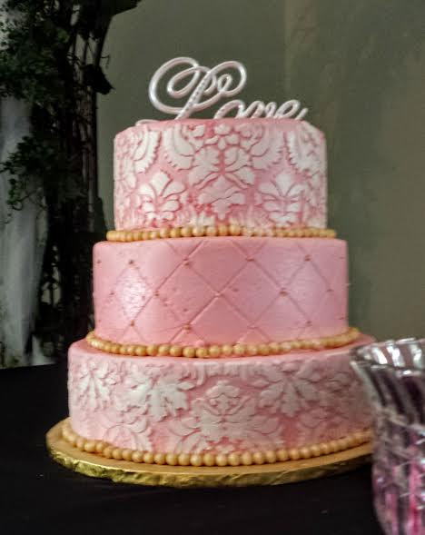 pink and gold damask