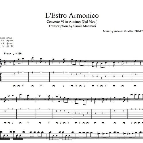 Antonio Vivaldi Concerto in A minor (3rd Mov.) Tablatures