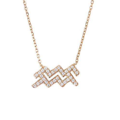Zodiac Star Sign Pendant Necklace Rose Gold Aquarius