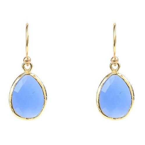 Petite Drop Earring Dark Blue Chalcedony Gold