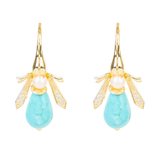 Turquoise Honey Bee Earrings Gold