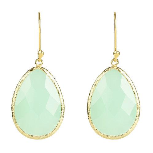 Single Drop Earring Aqua Chalcedony Gold