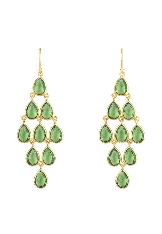 Erviola Gemstone Cascade Earrings Gold Peridot