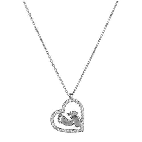 Heart Mum Pendant Necklace Silver