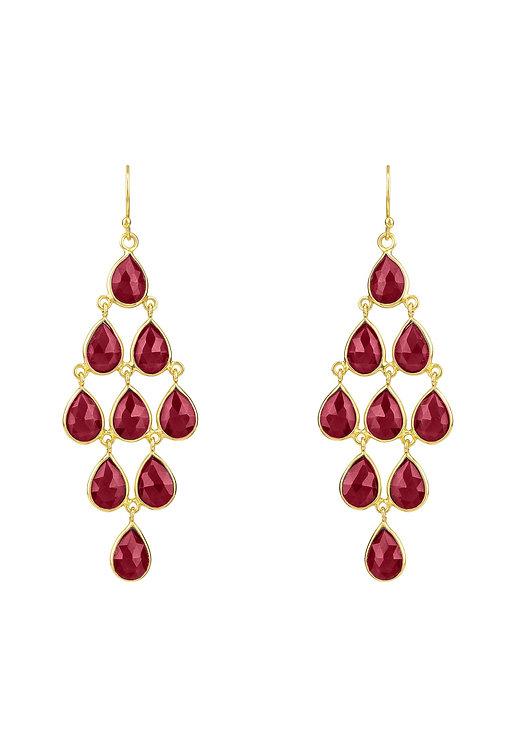Erviola Gemstone Cascade Earrings Gold Garnet