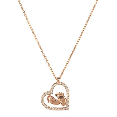 Heart Mum Pendant Necklace Rosegold
