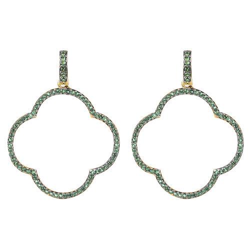 Open Clover Large Drop Earrings Green Gold