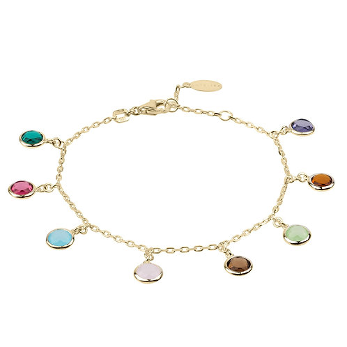 Florence Multi Coloured Gemstone Bracelet Gold