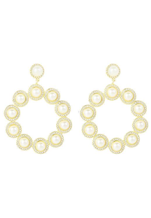 Gatsby Pearl Gemstone Statement Earrings Gold