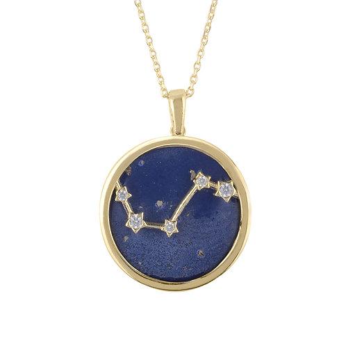 Zodiac Lapis Lazuli Gemstone Star Constellation Pendant Necklace Gold Aries