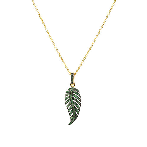 Leaf Tropical Necklace Green Tsavorite Gemstone Gold