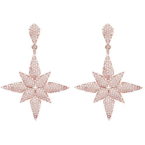 Star Flower Drop Earrings Rosegold