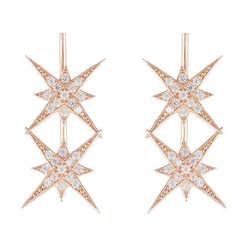 Star Burst Double Ear Climber Pair Rosegold