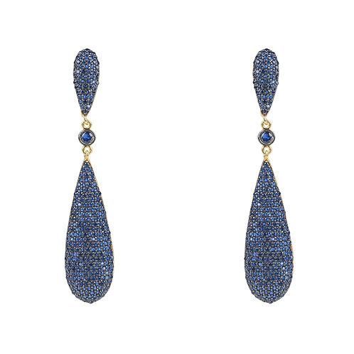Coco Long Drop Earrings Sapphire Blue CZ