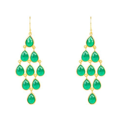 Erviola Gemstone Cascade Earrings Gold Green Onyx