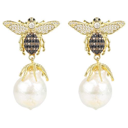 Baroque Pearl Honey Bee Drop Earring Gold