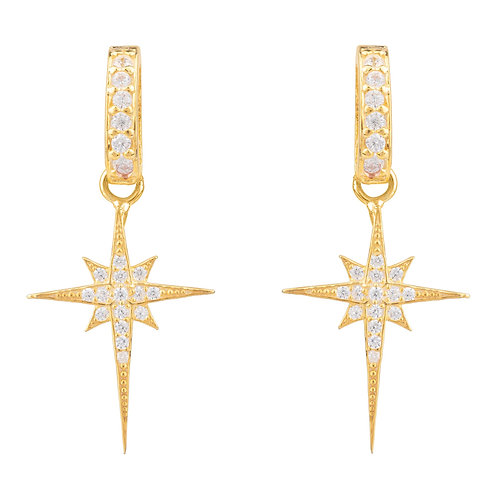 North Star Burst Small Drop Earring Gold