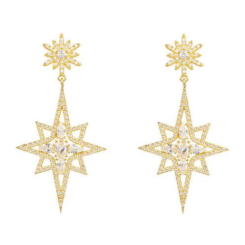 Northern Star Burst Drop Earring Gold