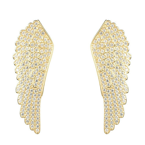 Angel Wing Large Stud Earrings Sterling Silver Gold