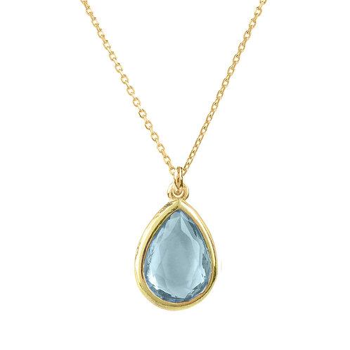 Pisa Mini Teardrop Necklace Gold Blue Topaz
