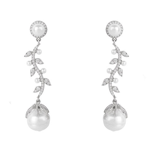 Baroque Pearl Trailing Flowers Earrings Silver