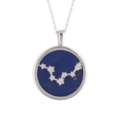 Zodiac Lapis Lazuli Gemstone Star Constellation Pendant Necklace Silver Pisces