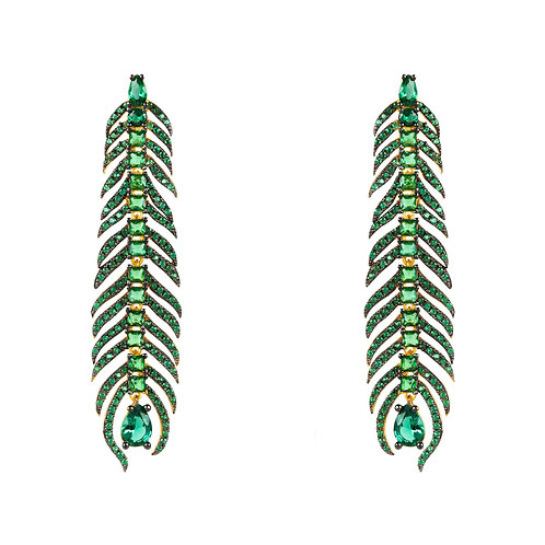 Peacock Feather Elongated Drop Earrings Green CZ