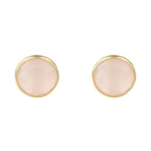 Medium Circle Stud Earrings Gold Rose Quartz