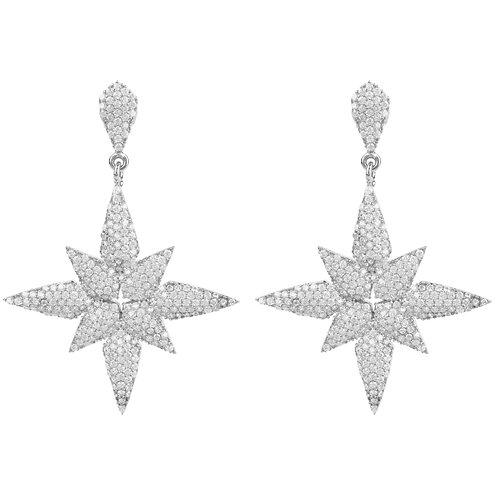 Star Flower Drop Earrings Silver