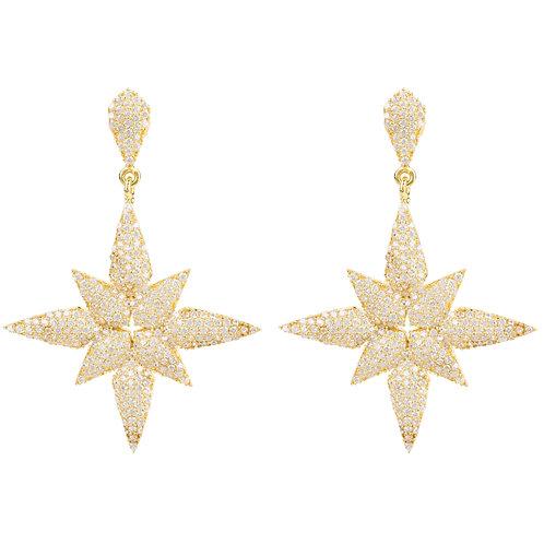 Star Flower Drop Earrings Gold