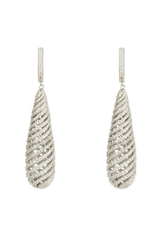 Hypnotic Spiral Drop Earrings Silver