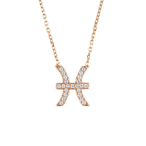 Zodiac Star Sign Pendant Necklace Rose Gold Pisces