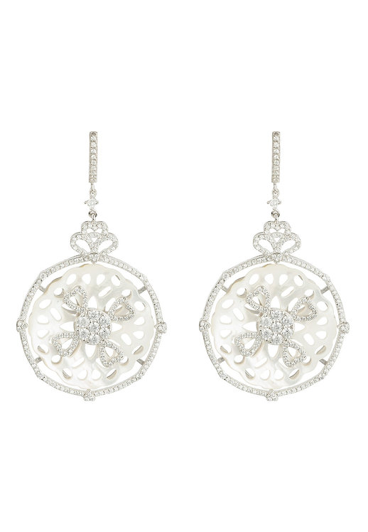 Dreamcatcher White Mother of Pearl Earring Silver
