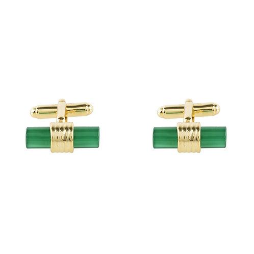 Cylindrical Cufflink Gold Green Onyx