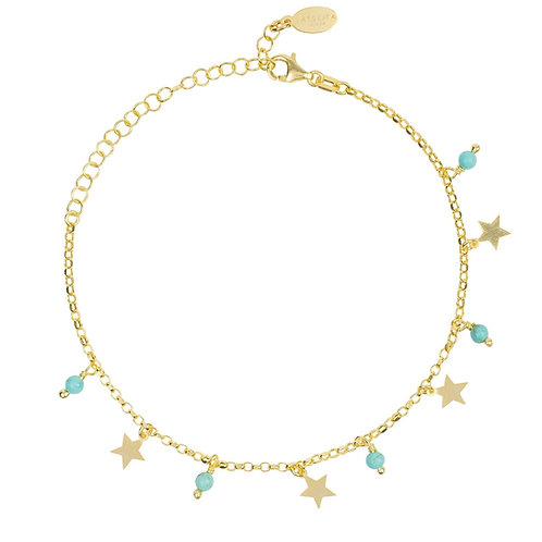 Turquoise Star Gemstone Bracelet Gold